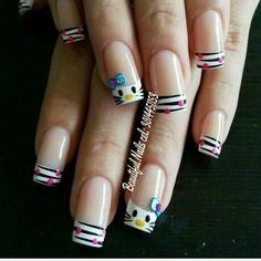 Pedicure Designs, Nail Art Designs, Fancy Nails, Cute Nails, Nail Saloon, Natural Acrylic Nails, Wow Nails, Nail Patterns, French Tip Nails