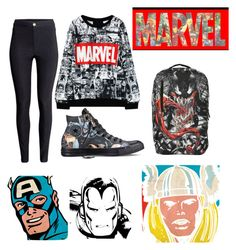 """MARVEL"" by gurveenpanesar ❤ liked on Polyvore featuring Converse, Marvel Comics, Venom, H&M, women's clothing, women, female, woman, misses and juniors"