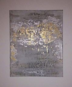 Silver and Gold Leaf Abstract Painting on Canvas