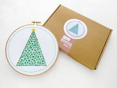 Xmas Embroidery Kit, Christmas Decoration Kit, Christmas Tree Hoop Art, Stocking Stuffer, Gift For Her, Craft Kit for Adults, Hoop Art Kit.