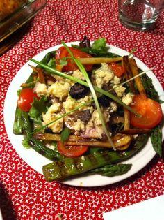 Blue stilton salade met groene asperges