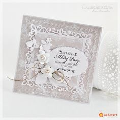 card flower flowers, spelbinders decorative floral square, vintage shabby shic, could be made with spellbinders fleur de lis squares, W dniu Ślubu - kartka ręcznie robiona Anniversary Cards, Wedding Anniversary, Wedding Cards, Wedding Invitations, Up Book, Mothers Day Cards, Flower Cards, Scrapbook Cards, Cardmaking