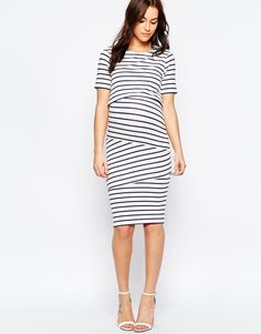 Image 4 of ASOS Maternity NURSING Double Layer Body-Conscious Dress In Stripe