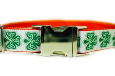 St Patrick's Day Shamrock Dog Collar 1 by PetBlessings on Etsy