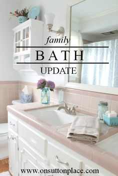 See how this family bath was updated in just one day and for 100 bucks!