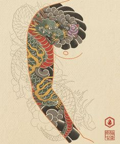 Tattoo Japanese Style, Japanese Dragon Tattoos, Japanese Sleeve Tattoos, J Tattoo, Hand Tattoos, Body Art Tattoos, Arabic Tattoos, Dragon Tattoo Back Piece, Dragon Sleeve Tattoos
