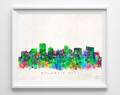 Atlantic City Skyline Print New Jersey Print by InkistPrints