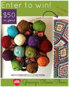 Learn hou you can win $50 in yarn from Red Heart and enter to win through AllFreeCrochetAfghanPatterns!