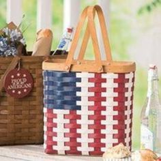 Picture of Tall Tote Basket Set American Flag Basket Organization, Red White Blue, Fireworks, American Flag, Wood Crafts, Pottery, Entertaining, Baskets, Fun