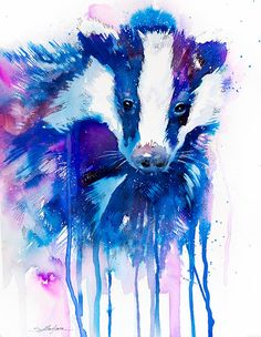 Original Watercolour Painting Badger animal by SlaviART on Etsy, $420.00