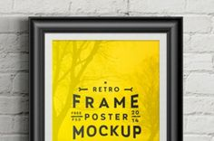A psd retro frame poster mockup to display your poster size designs. You can easily change the frame color to match...