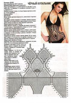 Bademode Ropa Interior y bikinis a Crochet (patrones) Crochet Lingerie, Crochet Bra, Crochet Bikini Pattern, Crochet Bikini Top, Crochet Blouse, Crochet Poncho, Crochet Clothes, Crochet Patterns, Crochet Monokini