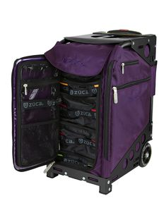 "Pro Travel Royal Purple/Black : ZÜCA echnical Specs – Pro Travel Luggage  41"" Telescoping handle Aluminum alloy frame is light, super strong and rated to safely support up to 300 lbs The removable, hand washable, Insert Bag is made from premium water resistant 1680D ballistic nylon 4"" Lightweight polyurethane wheels absorb shock and make for a seriously silent ride This luggage meets FAA specifications for carry-on baggage $295"