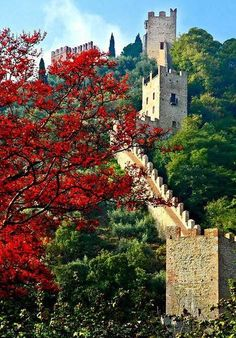 Castle walls at Marostica, Italy