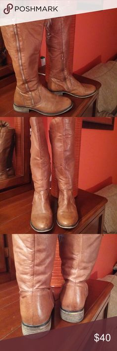 Steve Madden cognac leather boots Steve Madden cognac leather boots. Worn but in good condition. Steve Madden Shoes Over the Knee Boots