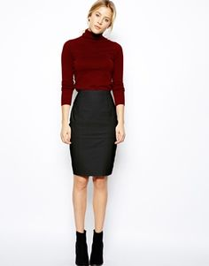 Image 1 ofASOS Leather Pencil Skirt In Knee Length