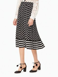 dot stripe pleated skirt | Kate Spade New York