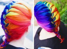 french braids, warm colors, ball, rainbow braid, rainbow hair, rainbow french, braid hairstyles, rainbow brite, bold colors