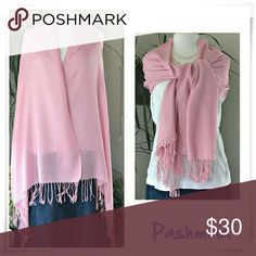 """Pashmina Shawl Scarf. NWOT. Silky soft and very delicate scarf in light pink color.  Details: 28"""" wide, 72"""" long including fringe. 4"""" hand knotted tassels, 100% pashmina wool. Handwash with shampoo, do not twist, dry flat. Accessories Scarves & Wraps"""