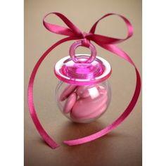 Boîte à dragées tétine rose fuschia et transparente forme tétine 3.7 cm les 4