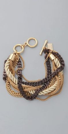 Juliet & Company, Gold & Cognac Chains Bracelet $34.30