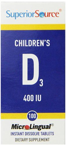 Superior Source Childrens Vitamin D 400IU Tablets 100 Count -- Details can be found by clicking on the image. (This is an affiliate link) #Multivitamins