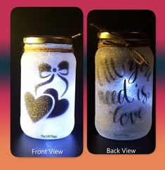 Valentines All you need is love Night light mood by TheGiftPage Night Light, Light Up, Dremel Tool Projects, Glitter Jars, White Glitter, Mod Podge Crafts, Fairy Jars, Wine Bottle Crafts, Wine Bottles