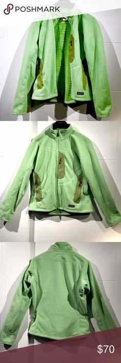 Patagonia R2 Fleece Jacket Kiwi So Dang Soft! Lg This is the softest fleece! The color is beautiful. Good used condition. Normal wear. No rips or tears. I wish it was my size! Hard to capture the exact color with LED lights but it's very close. Patagonia Jackets & Coats