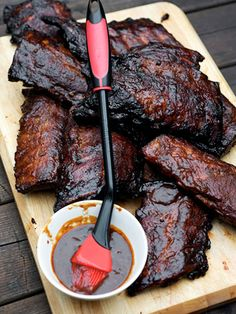 dr. pepper barbecue sauce    The first act  -  a spicy, smoky-flavored rub  -  sets the stage for  the second -  the sticky soda-base sauce that follows. Together, this combo creates pork ribs perfection. Look for molasses powder  -  a  unique product made from dehydrated blackstrap molasses  -  at spice shops or online.