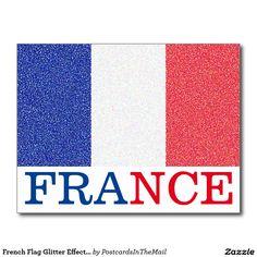 French Flag Glitter Effect France Postcard