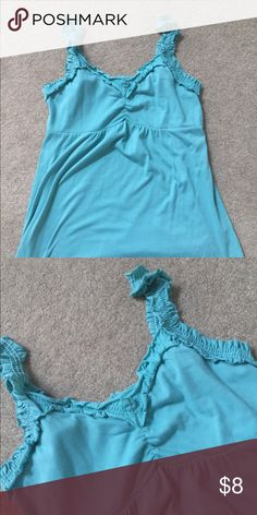 Turquoise gathered strap tank 60% cotton 40% polyester Maurices Tops Tank Tops
