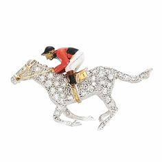 Two-Color Gold, Diamond and Enamel Jockey and Horse Pin - White & yellow gold, single-cut diamonds ap. Equestrian Jewelry, Horse Jewelry, Equestrian Style, Animal Jewelry, Jewelry Art, Vintage Jewelry, Fine Jewelry, Unusual Jewelry, Art Deco