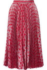 GucciPleated printed lamé skirt