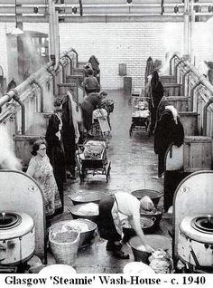 "Glasgow Washouse. It was called ""The Steamie"". My mother used to help her Mum do laundry like this, I wonder if it's the same place?"
