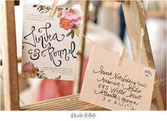 Floral collage peach wedding invitationsuite