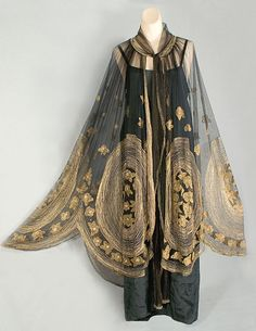Deco metallic embroidered tulle cape, c.1920