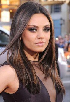 Mila Kunis sleek hair smokey eye