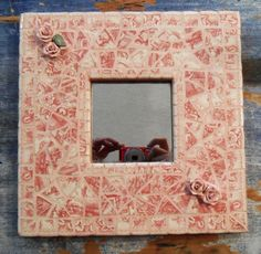 Unique Mirror w Mosaic Frame Antique French Porcelain Pink Handmade
