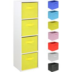 I love this unit - the bright colours make it perfect for a child's room #storage #toystorage