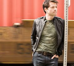 Misha Collins ... love that leather jacket.