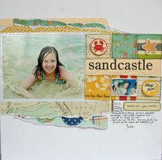 """Love the look of all the """"ripped"""" paper and layering effect of this layout. And I LOVE me some October Afternoon!!!"""