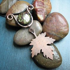 Maple Leaf Necklace Copper On Leather Cord by by SerpentsDance
