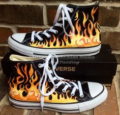 b66c821b Custom Hand Painted Flames on Black Converse High Tops, Fire Chucks,  Yellow-Red Fiery Flame Shoes fo