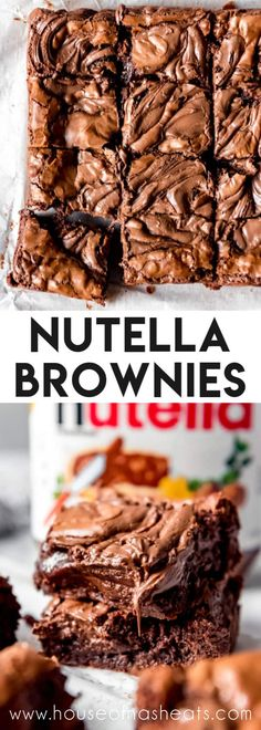 These rich chocolatey Nutella Brownies have brownie batter made with Nutella, then more is dropped on top and swirled in for concentrated Nutella goodness! Easy Nutella Brownies, Nutella Snacks, Nutella Recipes, Brownie Recipes, Chocolate Recipes, Cookie Recipes, Dessert Recipes, Espresso Brownies, Nutella Cake