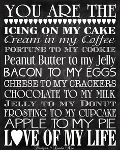 Printable You Are The Bacon to my Eggs, Cream in my Coffee, Chocolate to my Milk, Jelly to my Donut ... Subway Art Wall Printable  Printable YOU ARE THE Bacon to my Eggs, YOU ARE THE Fortune to my Cookie, etc. Perfect gift for your husband, wife, or significant other. IDEAS