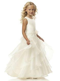 Jewel neck sleeveless dress w/ matching belt and handworked flower trim. Bias ruffle skirt.  http://www.dessy.com/dresses/flowergirl/FL4036/