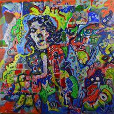 tableau Isafara  100 x 100 cm acrylique huile rencontres enchevêtrées
