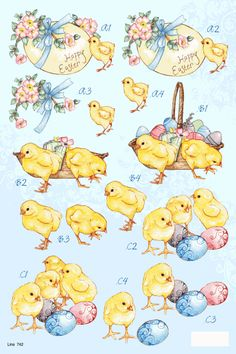 A4 3D die cut decoupage - Easter chicks and eggs