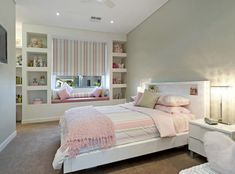 Pink Colours Children's Room Bedroom Design Idea With Carpet & Built In Shelving Bedroom Interior Ideas #1684