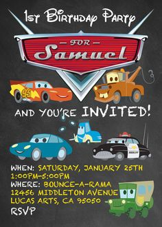 Disney Pixar Cars Birthday Invitations. by FaithFamilyFunDesign